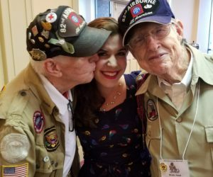 Lucky Girl Liberty Jubilee Faith Getting Kissed By WWII Legends Ernie Lamson and Brodie Hand